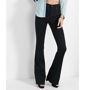 Express Slim Flare High Rise Button Fly Jeans Blk
